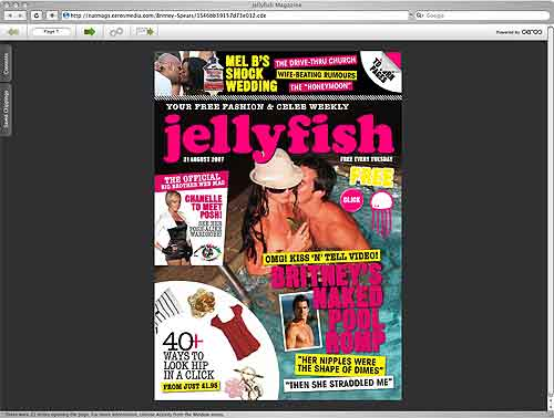 Jelly fish digital magazine start page